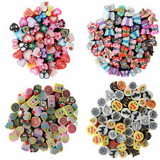 W 10pcs Mixed Styles Fimo Polymer Clay Cane Nail Stickers DIY Nail Art Decal