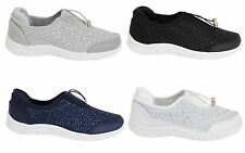 New Womens Ladies Flat Diamante Plimsolls Loafers Pumps Casual Trainers