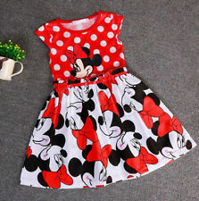 For 1~6 Years Old Girls Kids Cotton Cute Dot Mickey Minnie Mouse Party Dress