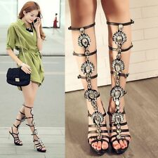 Womens Leather Strappy Diamond Knee High Sandals Summer Knee High Boots Pumps