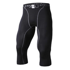 Mens Sports Compression Thermal Base Layer Tights Fitness Cropped Trousers Pants