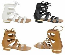 New Womens Ladies Gladiator Flat Leather Look Strappy Sandals Summer Size 3-8