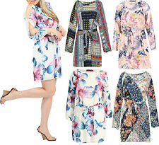 Womens Chiffon Floral Cut Out Shoulder Belted Long Sleeve Ladies Lined Dress 814