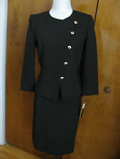 New w/tags Tahari Asl Women's Black Detailed Lined Skirt Suit 4,6P