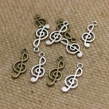 50PCS Antique Silver/bronze Music Notes Charm Pendant DIY Jewelry Making 10x24MM