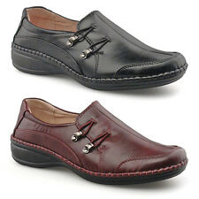 Ladies Girls New Black Burgundy Leather Lined Wide Fitting Slip On Work Shoes