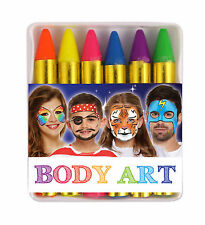 Neon Colored Face Painting Set 6 Colours Children's Party Costume Stage Makeup
