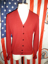 Mens Vtg 80s JCPenney Burgundy Acrylic Cardigan Sweater LG mr rogers mad USA 90s