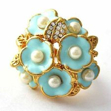 wholesale Fashion jewelry Gold Filled Pearl Womens Flower Ring lots Size 7 8 9