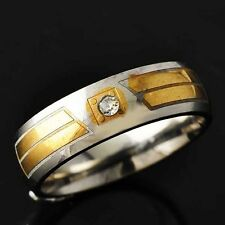 Vintage Mens Gold filled Stainless Steel CZ engagement Ring Size 8 9 10 11