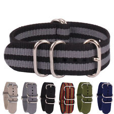 Ring Buckle Stripe Solid Color Black Grey 22mm Nylon Watch Strap Wristwatch Band