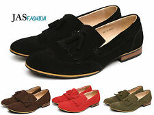 Mens Leather Slip On Shoes Suede Designer Casual Tassel Loafers Wing Tip UK Size