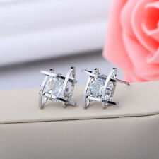 Vogue Women Girls Crystal Rhinestone Square Ear Studs Earrings Jewelry Gift New