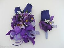 Wedding Prom Metallic Lavender Purple Flower Wrist Corsage or w/ Boutonniere Set
