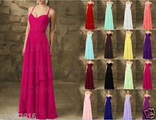 Chiffon Long Formal Evening Ball Gown Party Prom Bridesmaid Dress Stock Siz 6-18