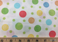 Pastel Baby Nursery Red Blue Green Yellow Polka Dots White Cotton Fabric t5/39