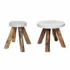 SIDE TABLE TEAKWOOD BETON ROUND GEMSTONE WOOD COFFEE WHITE GARDEN NATURAL SOLID