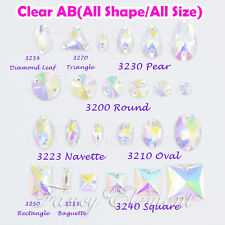 Glass All shape All Size Clear AB Crystal Flatback Sew On Rhinestones Beads Gem