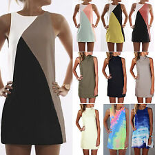 New Sexy Women Summer Casual Mini Dress Sleeveless Long Top Party Beach Sundress