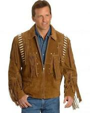 Mens Western Suede Leather Jacket Fringe Bead & Bones