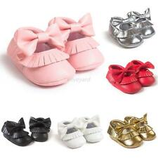 Baby Girls Shiny PU Leather Moccasin Princess Soft Crib Shoes Prewalker 0-18M