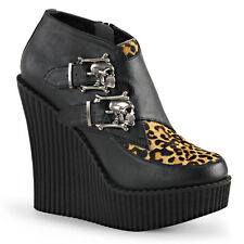 Demonia Creeper-306 Black & Leopard Skull Buckle Wedge Shoes - Gothic,Goth,Punk,