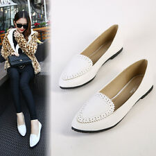 Women Fashion White Floral Cut Out Pointy Toe Ballet Flats Brogues Shoes Sz5-12