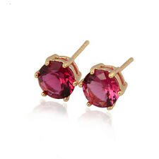 Delicate 18K Yellow Gold Plated Colorful Cubic Zirconia Stud Earrings