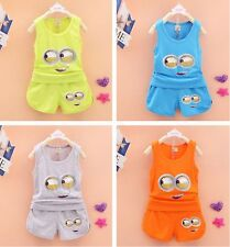 2Pcs Baby Toddler Boys&Girls Minion Party Clothes T-Shirt+Shorts Summer Set