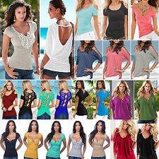 Plus Size Women Ladies Summer Short Sleeve Top Casual Stretch Tee Shirts Blouse