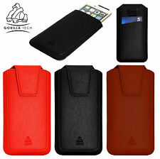 Gorilla Tech Leather Case Cover Pouch Sleeve Pull Tab Slide In For Mobile Phone