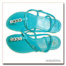 NEW FASHION  WOMENS  ROMAN SANDALS FLATS WITH BLING THONGS 1239 /Turquoise