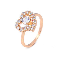 Fashion Love 24K Yellow Gold Plated Clear Round CZ Promise Love Band Ring