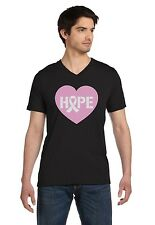 Hope Breast Cancer Awareness Heart Shaped Pink Ribbon V-Neck T-Shirt Support