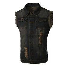 New Mens Slim Fit Button Denim Coat Fashion Jean Jacket Autumn Sleeveless Vest