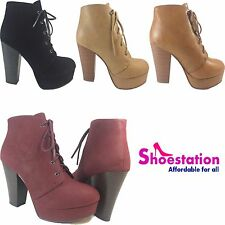 NEW Womens Wedge Bootie Oxford Black Mid Heel Ankle Boot Shoes Fashion Platform