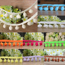 New 1M 10mm Ball Pom Pom Bobble Trim Braid Fringe Ribbon Edging Craft Decoration
