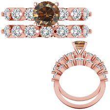 0.50 Ct Champagne Diamond Seven Stone Solitaire Design Ring + Band 14K Rose Gold
