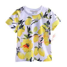 Boys Lemon Print T-shirt Kids Summer Clothes Boy Short Sleeve Top Tshirt 2-9 Yrs