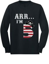 Arr I'm 5 Pirate Birthday Party Five Years Old Youth Kids Long Sleeve T-Shirt