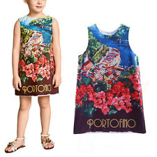 Girls Party Dress Kids Princess Pageant Holiday Summer Floral Print Dresses NEW