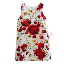 Girls Floral Party Dress Holiday Princess Costume Daisy Poppy Print Kids Clothes