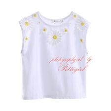 Girls Cotton Vest Top Kids Daisy Floral Sleeveless T-Shirt TEE Age 3-12 Years