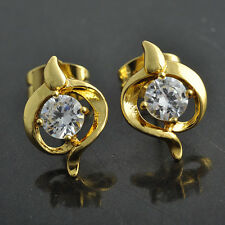 Authentic 18K Yellow Gold Filled Rainbow crystal Crystal Womens Stud Earrings