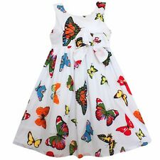 Girls Dress Colorful Butterfly Bow Party Birthday Casual  Baby Kids Clothes 2-6T