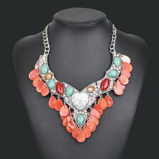 2016 New Brand Fashion Turquoise Heart Statement Women Bib Choker Necklace