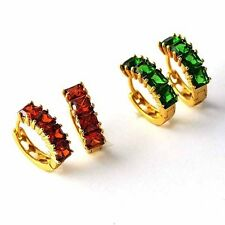 Fashion  Ruby Emerald Hoop Earrings Womens/Girls Yellow Gold Filled jewelry