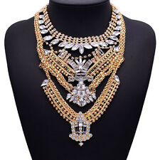2016 New Fashion Crystal Exaggeration Statement Women Bib Choker Neckalce