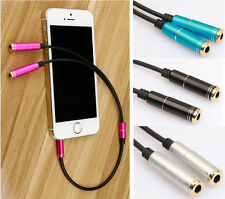 3.5mm 1 Male to 2 Female Earphone Audio Extension Y Splitter Cable 4 Colors Sale