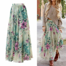 BOHO Hippy Women Summer Floral Long Maxi Skirt Beach Dress Sundress Party Casual